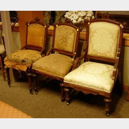 Set of Three Renaissance Revival Upholstered Walnut Parlor Chairs and a Late Victorian Oak Spindle-sided Morris Chair.