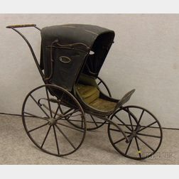 19th Century Painted Wood and Iron Three-wheel Stroller with Oil Cloth Canopy