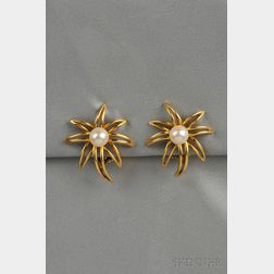 """18kt Gold and Cultured Pearl """"Fireworks"""" Earclips, Tiffany & Co."""