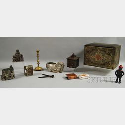 Five Assorted Collectible Metal Articles and Five Cast Iron Banks