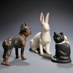 Three Cast Iron Animal-form Doorstops