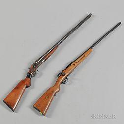 J. Stevens Arms and Tool Co. Model 255 12-gauge Double-barrel Shotgun and a Mauser-style Bolt-action 12-gauge Single-barrel Shotgun