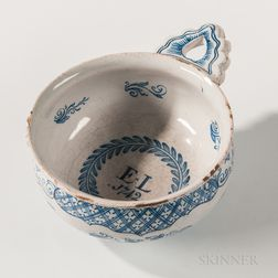 Dated Tin-glazed Earthenware Porringer