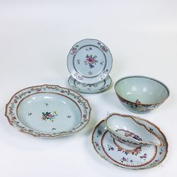 Six Chinese Export Porcelain Tableware Items