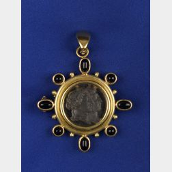 18kt Gold, Venetian Glass and Onyx Pendant/Brooch