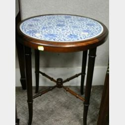Chinese Blue and White Porcelain Inset Bamboo-turned Wood Kettle Stand.