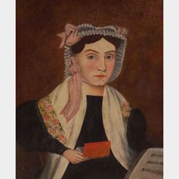American School, 19th Century    Portrait of Woman Holding a Red Book.