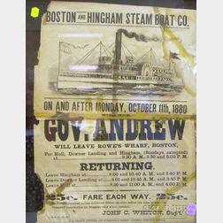 """Framed 1880 Boston and Hingham Steam Boat Co. Steamer """"Gov. Andrew"""" Broadside"""