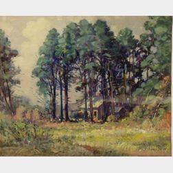 Framed Oil on Board, House in the Pines, by Frederick Mortimer Lamb (American, 1861-1936), unsigned. Provenance: From the coll...