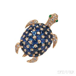 18kt Gold, Sapphire, and Diamond Turtle Brooch, attributed to Tiffany & Co.