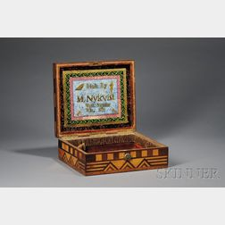 Inlaid Angler's Box with Eglomise Interior Panel