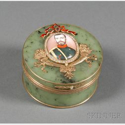 Russian Hardstone, Goldwashed Silver, Stone and Porcelain Portrait-mounted Box