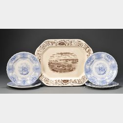 """Quebec Harbor & Levis"" Platter and Four ""Texian Campaigne"" Dinner Plates"