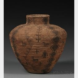 Apache Pictorial Coiled Basketry Olla