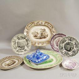 Eight Transfer-printed Tableware Items