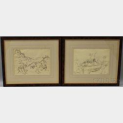 William Samuel Horton (American, 1865-1936)      Two Drawings: Gondola with Passengers
