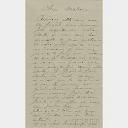 Renoir, Pierre-Auguste (1841-1919) Autograph Letter Signed, Magagnosc, 18 February 1901.
