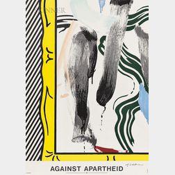After Roy Lichtenstein (American, 1923-1997)      Against Apartheid   Poster