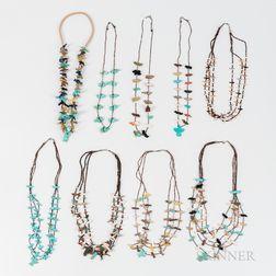 Nine Southwest Heishi and Turquoise Fetish Necklaces