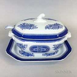 "Copeland Spode ""Trade Winds"" and Blue and White Transfer-decorated Tureens and Underplates.     Estimate $100-150"