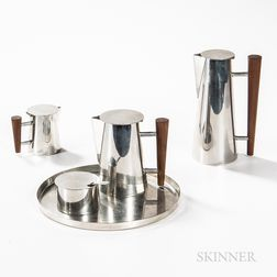 Ron Kusins for Pewter Crafters of Cape Cod Modernist Tea and Coffee Set