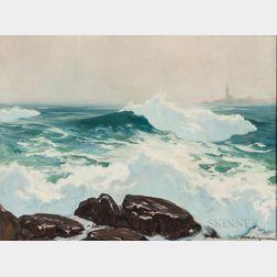 Harry Russell Ballinger (American, 1892-1993)      Rolling Waves on Rocks.