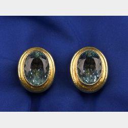 18kt Gold and Aquamarine Earrings