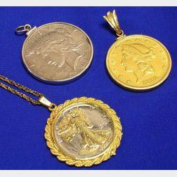 1899 Liberty Double Eagle Twenty Dollar Gold Piece, 1944 Peace Dollar