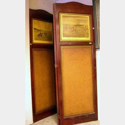 Large Custom Red Stained Wooden Framed Folding Three-Panel Floor Screen with Inset   Hunting Scene Print Panels