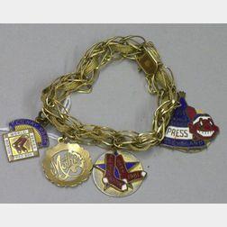 14kt Gold Lady's Bracelet with Three Vintage Enameled Baseball Pins
