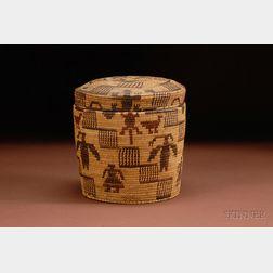 Southwest Coiled Pictorial Lidded Basket