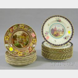 Set of Twelve Spode Transfer Decorated and Hand-colored Porcelain Luncheon Plates and a Set of Ten Coalport Tra...
