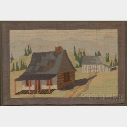 Framed Grenfell Hooked Mat with House and Barn
