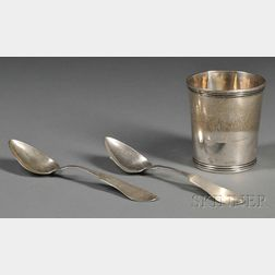 Sterling Silver Mint Julep Cup and Two Coin Silver Spoons