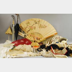 Large Collection of Antique Hats, Fans, Lace, Clothing and Accessories