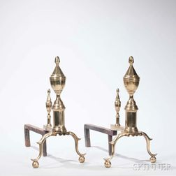 Pair of Brass and Iron Urn-top Andirons