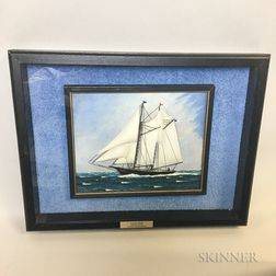 Framed Diorama of the Schooner Dolphin   in a Shadowbox