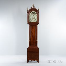 Federal Carved Mahogany and Mahogany Veneer Tall Case Clock