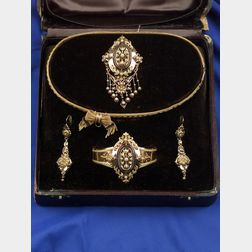 Victorian 18kt Gold and Pearl Demi-Parure