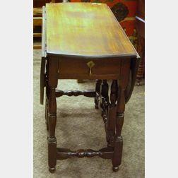William & Mary Drop-leaf Turned Maple Gate-leg Table.
