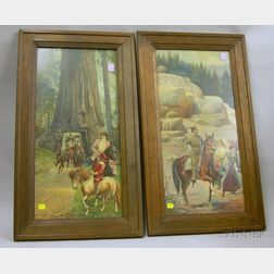 Pair of Framed Embossed Chromolithographs Terraces Mammoth Hot Springs, Yellowstone Park and Gia...