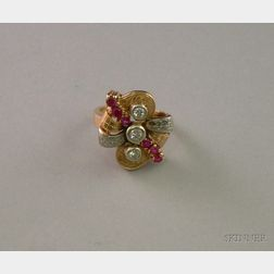 Retro Synthetic Ruby, and Diamond Ring