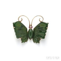 14kt Gold and Nephrite Butterfly Brooch