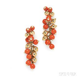 18kt Gold, Coral Bead, and Diamond Earpendants