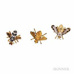 Three Bee Pins