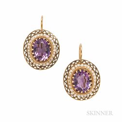 14kt Gold, Amethyst, and Seed Pearl Earrings