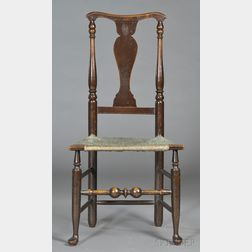 Brown-painted Yoke-back Maple Side Chair