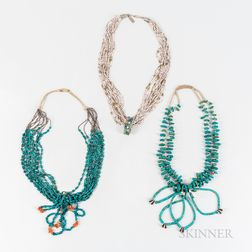 Three Southwest Multi-strand Heishi and Turquoise Necklaces