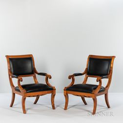 Pair of Biedermeier-style Leather-upholstered Beechwood Open Armchairs