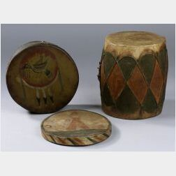 Three Wood and Hide Tourist Drums